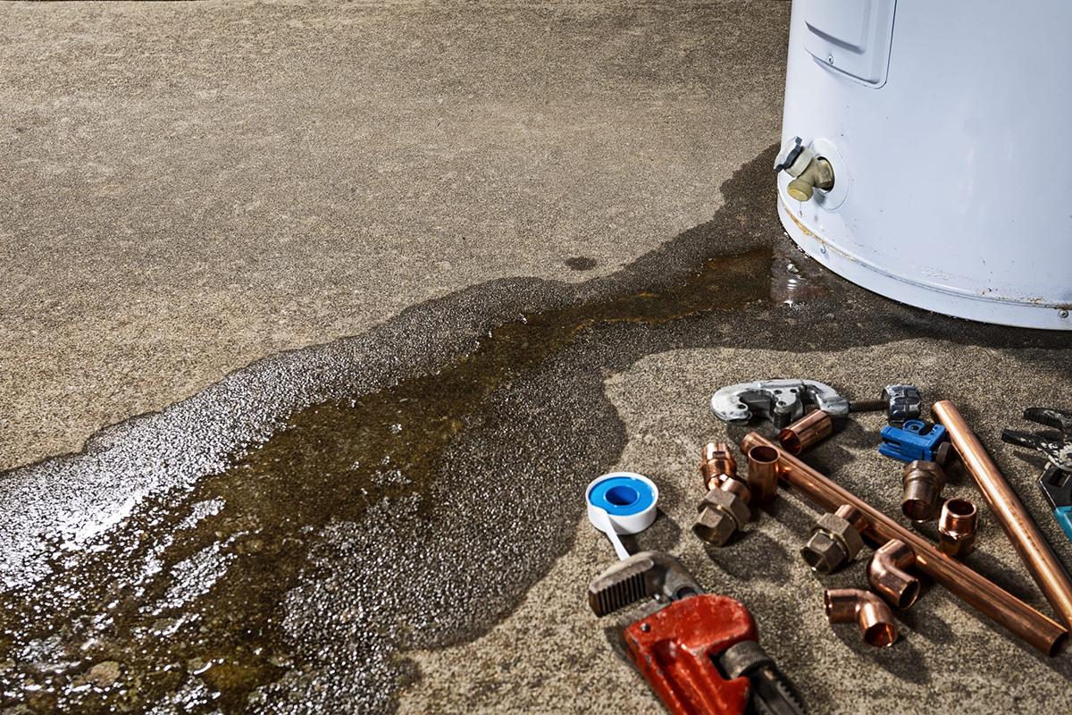 Hot water leak