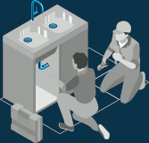 Illustration of a plumber and a client which sitting in front of kitchen sink