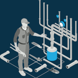 Illustration of a plumber who standing in front of home gas system