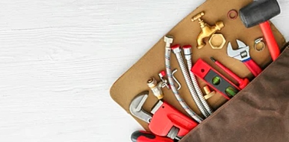 a bag with plumber tools